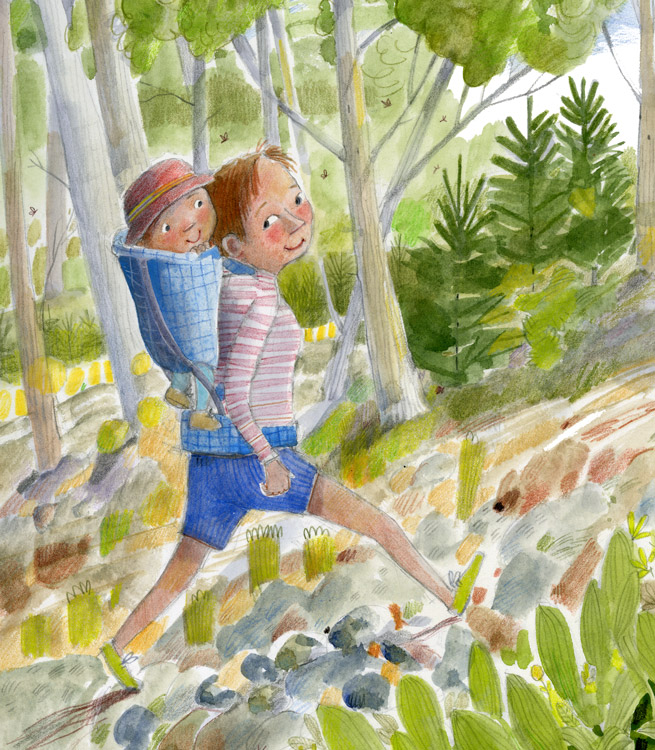 Mom and infant in backpack, hiking, illustration.