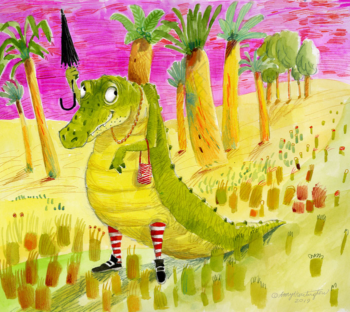 illustration, alligator all dressed up at the beach
