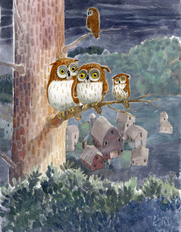 Illustration, four owls sit on a tree at night.