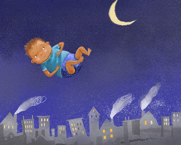 Illustration of baby floating in the night sky