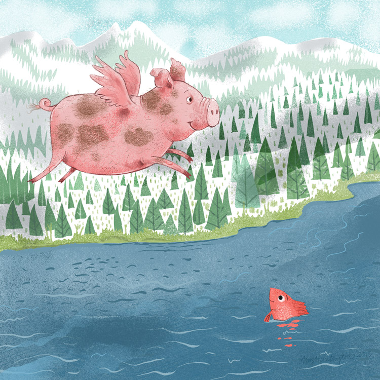 Illustration, a pig is flying over mountains and water
