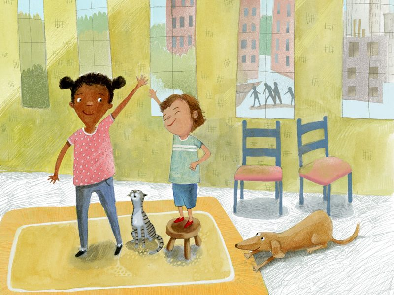 Illustration, two children in a room give each other a high five.