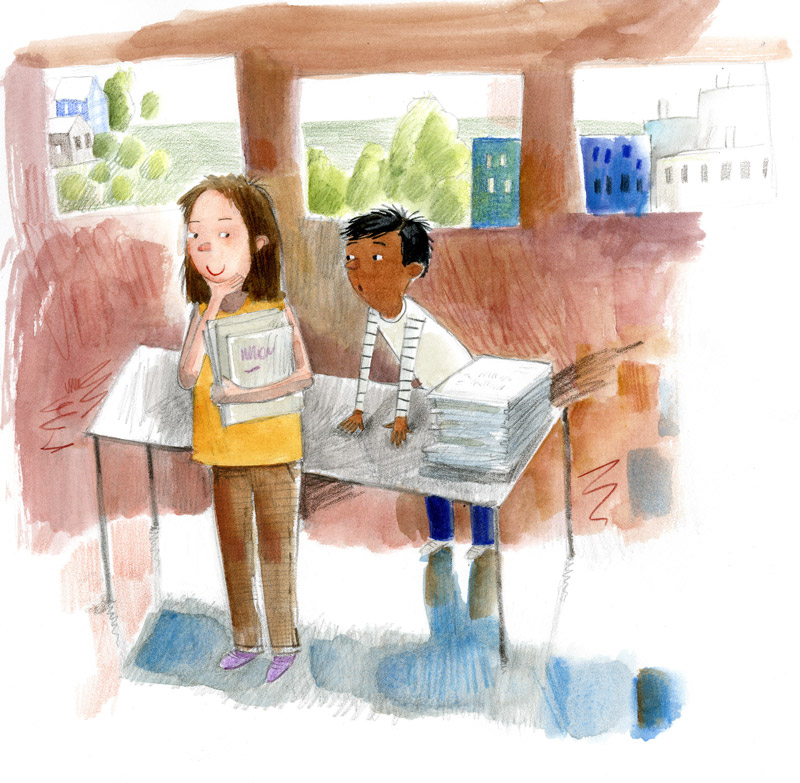 Illustration, girl and boy contemplating a stack of books