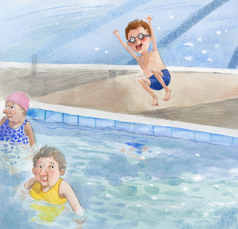Illustration,young boy jumping into pool beside two older ladies