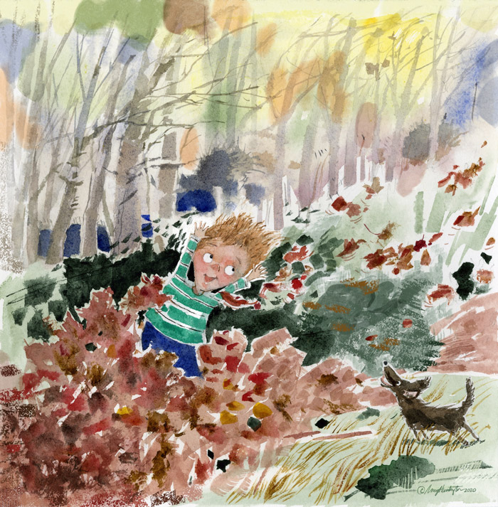 A child is playing in a pile of fall leaves while a dog looks on