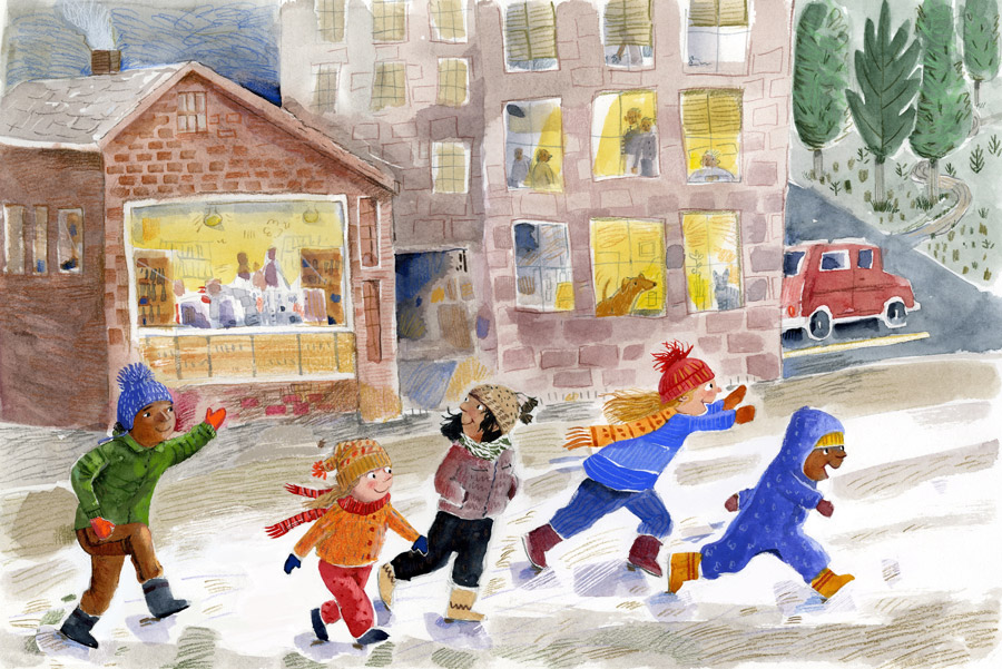 Illustration of kids running down a street, bundled up for cold weather.