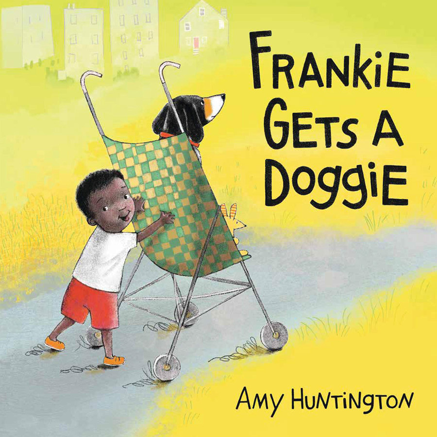 Cover for picture book, toddler pushing a dog in a stroller