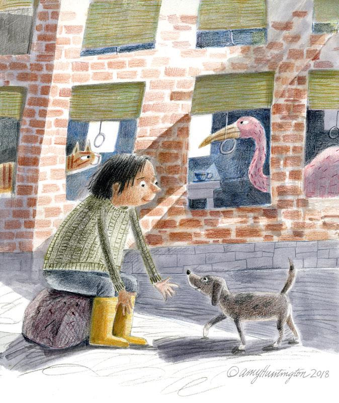Illustration, city scene of child and dog outside apartment windows