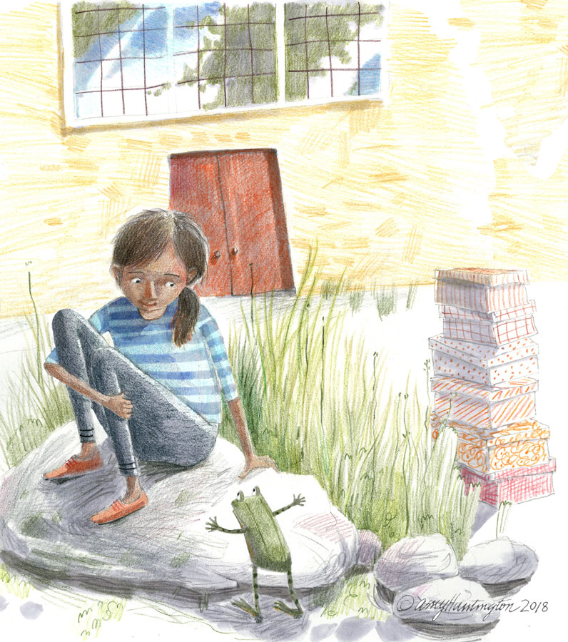 Girl sitting outside factory, illustration in colored pencil