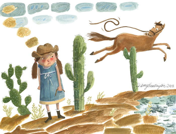 Illustration of cowgirl losing hold of horse