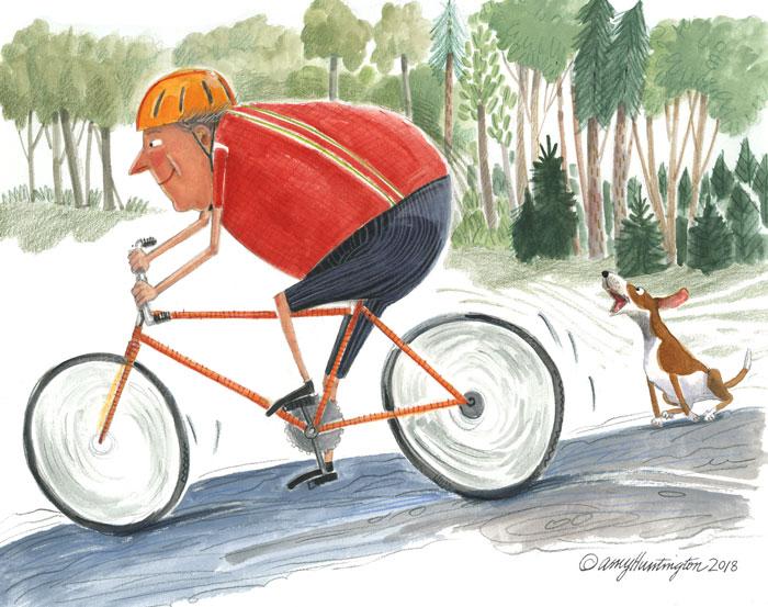 Illustration of biker and dog barking