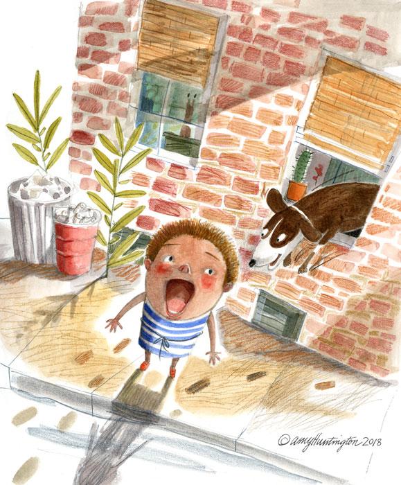 Illustration, Child and dog
