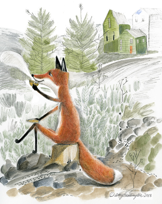 Illustration of a fox drinking tea