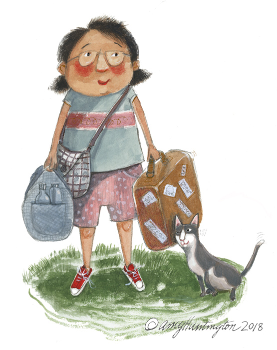 Illustration-woman holding luggage