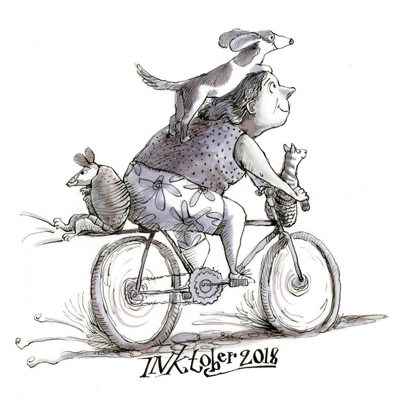 Illustration, woman on bike with dog, cat and armadillo