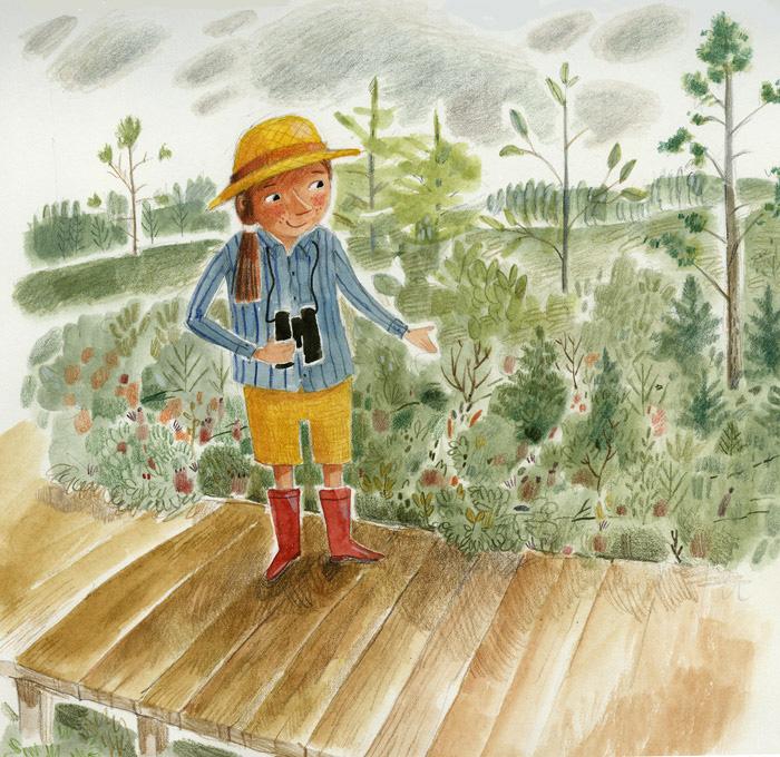 Children's illustration of child on boardwalk in a bog