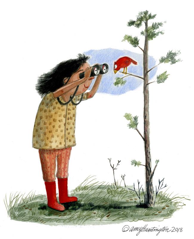 Illustration, girl watching bird with binoculars