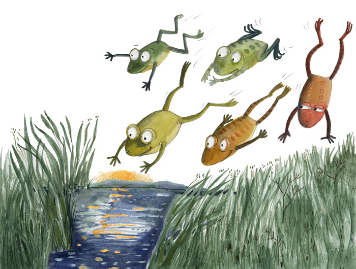 Illustration of leaping frogs