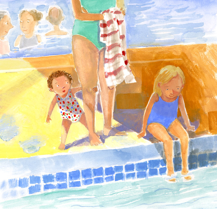 Illustration,toddler and child at edge of pool