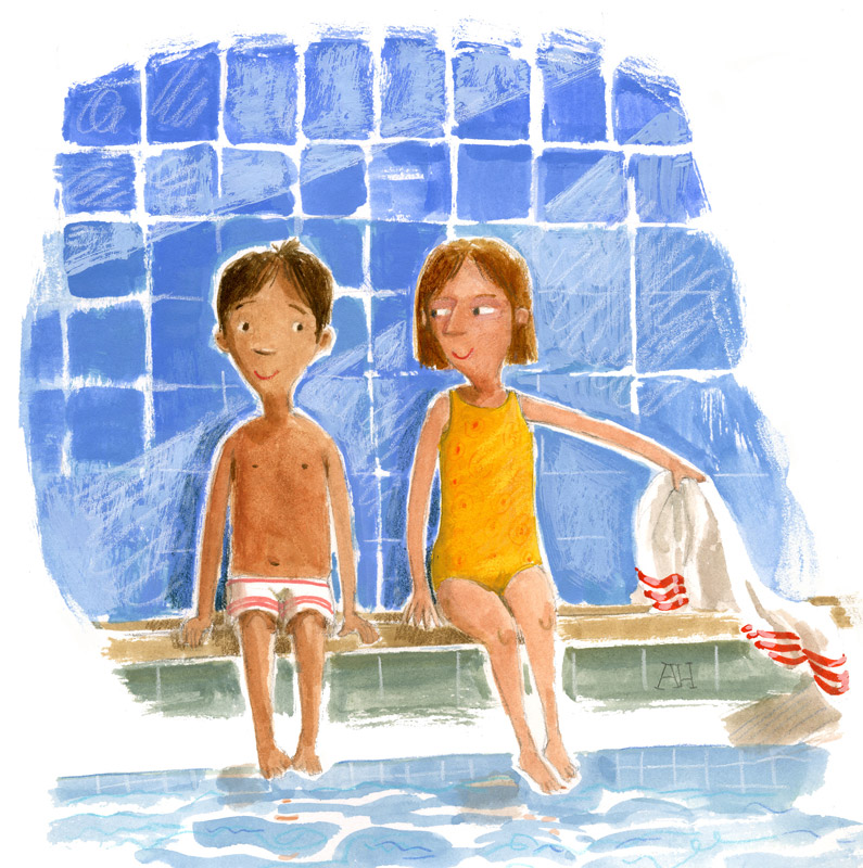 Illustration, boy and girl sitting at the pool