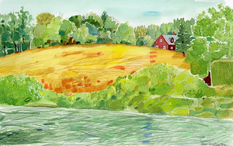 Illustration, hayfield landscape