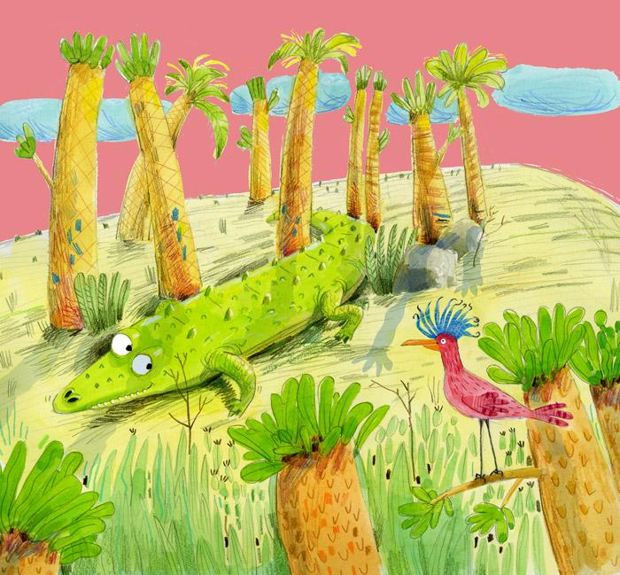 Illustration, alligator and fancy bird under palms