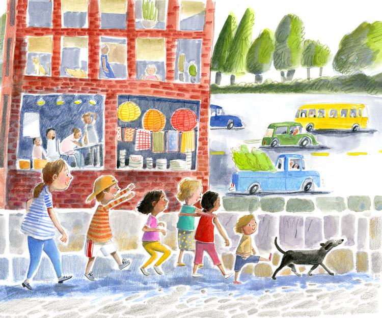 Illustration, children walking down a city street