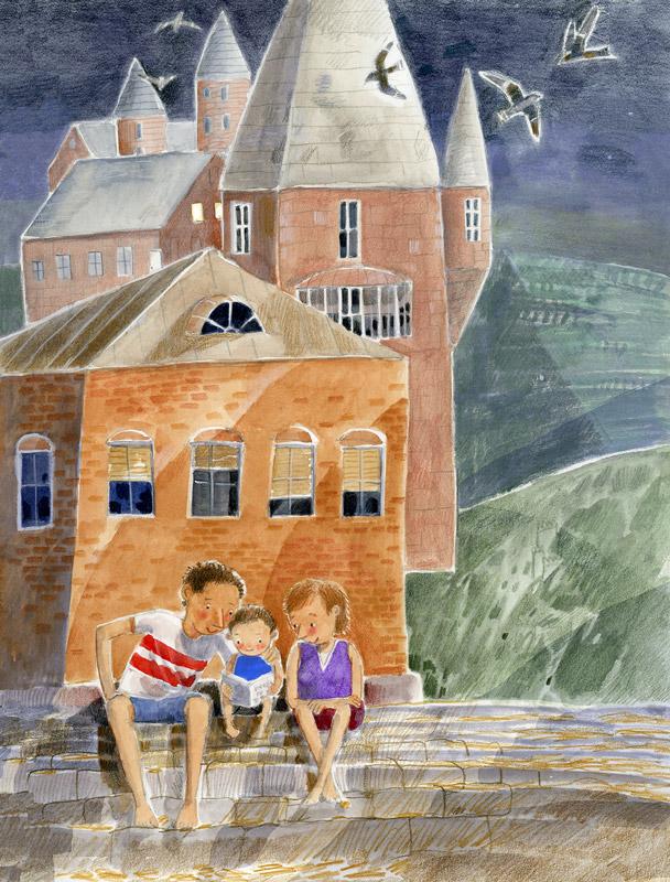 Illustration, child and couple reading at dusk