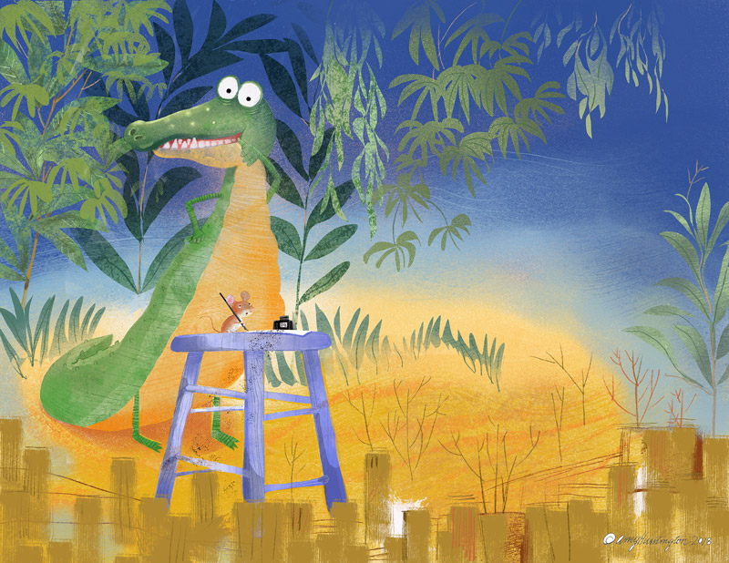 Illustration, alligator standing over mouse who is writing