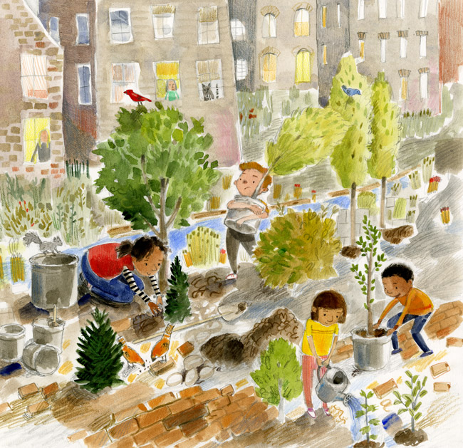 Illustration, children planting trees in a city.