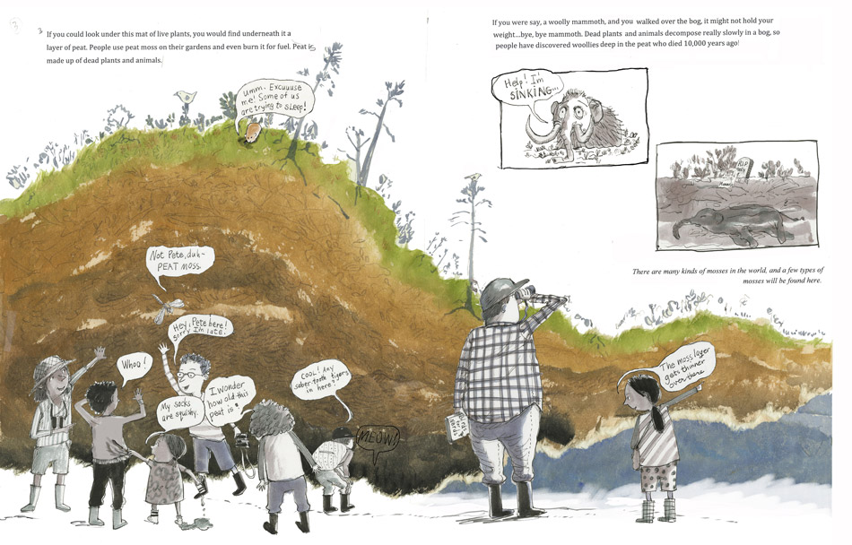 Illustration of kids looking beneath the plants in a bog at the layers of peat