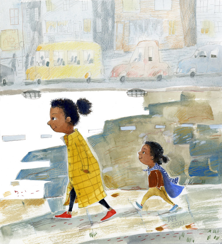 Illustration, two sisters walking down a street