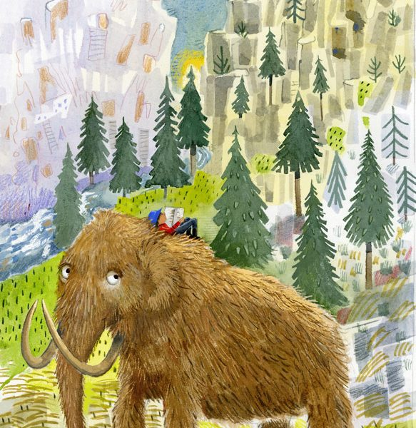 Illustration, boy reading on top of a woolly mammoth