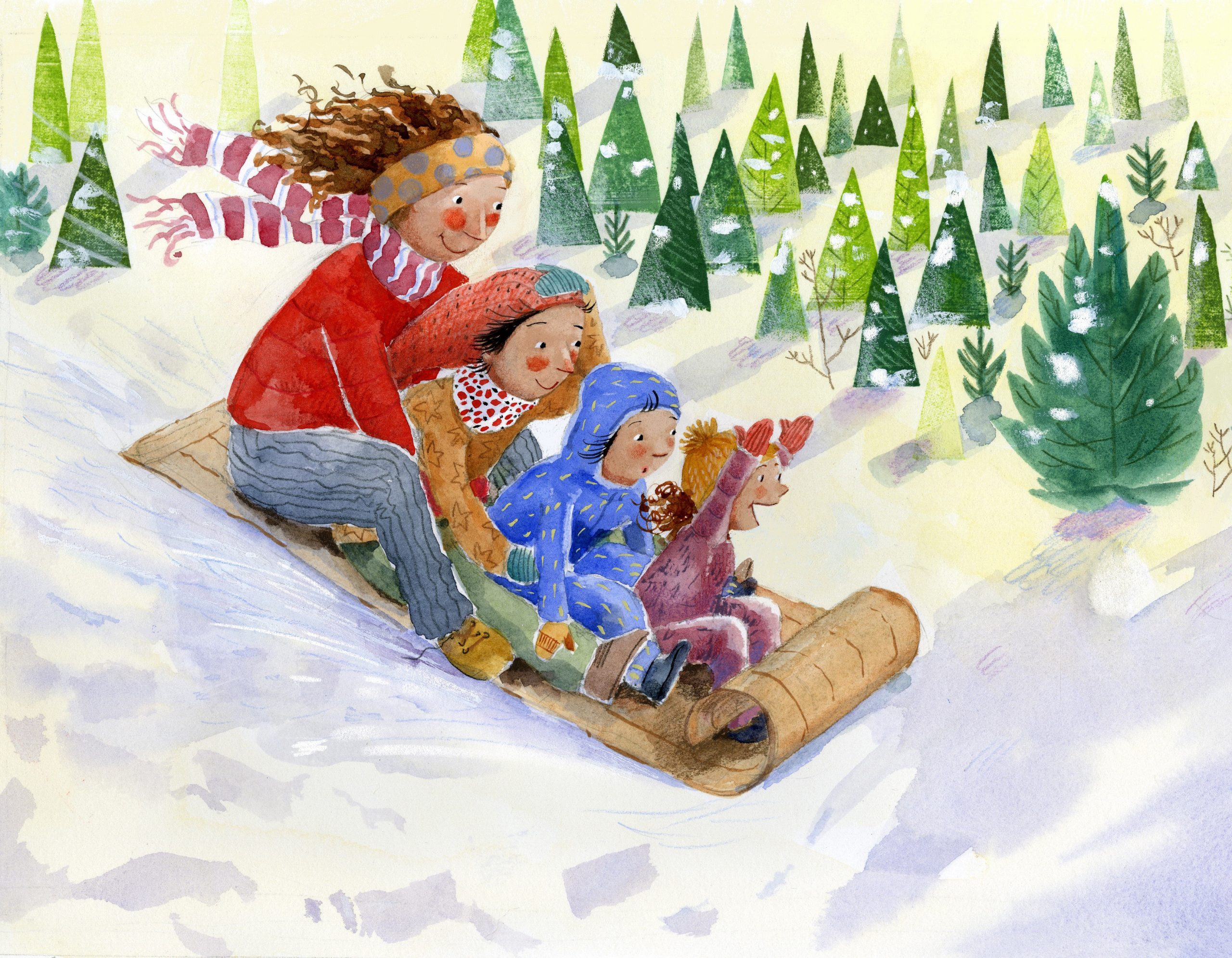 Illustration of mom and kids going downhill on a toboggan