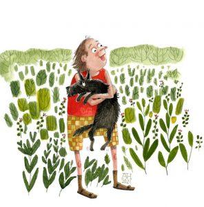 illustration, woman holding dog