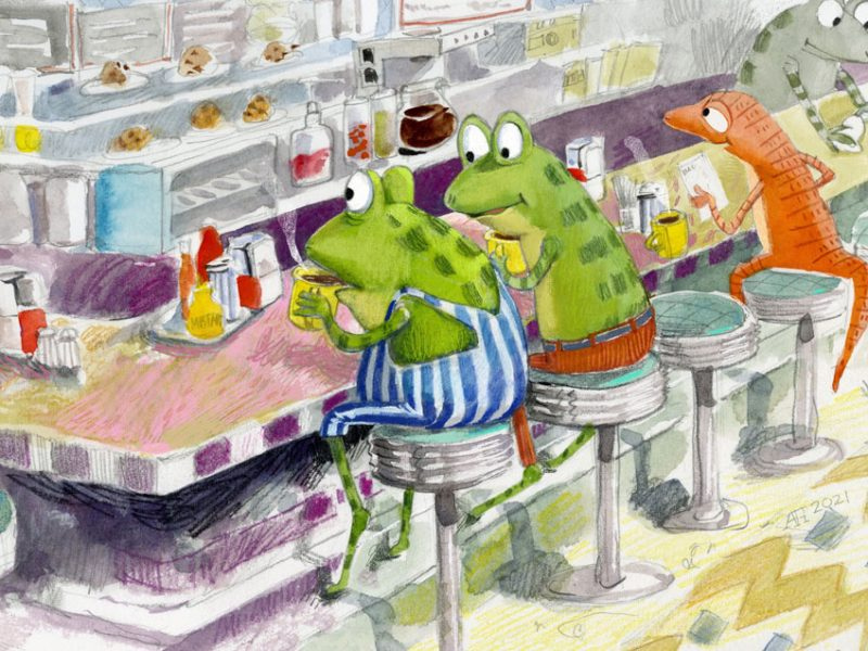 Illustration, frogs eating in a diner