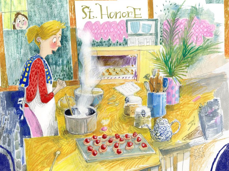 Illustration, woman baking with child peeking through window