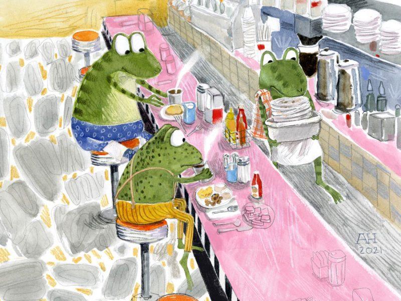 Illustration, frogs sitting in diner
