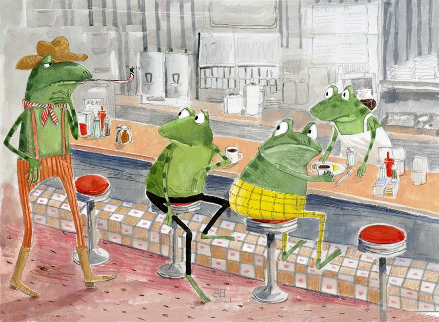 Illustration, frogs in a diner
