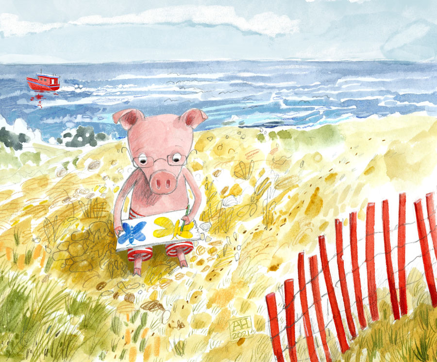 Illustration of piglet drawing at the beach
