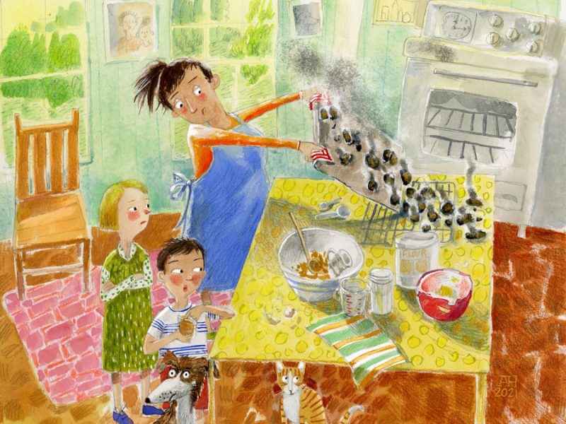 Illustration, mother and kids with burnt cookies on a cookie sheet