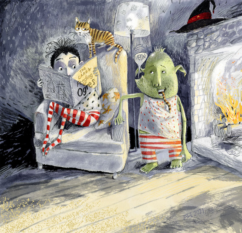 """Illustration, girl reading """"THE CARE AND FEEDING OF YOUR OGRE"""", while ogre eats cat."""